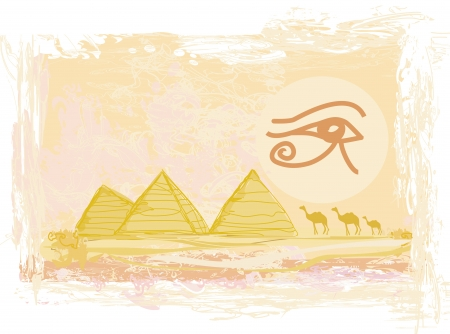 eye of horus: Egypt symbols and Pyramids - Traditional Horus Eye symbol and camel silhouette in front