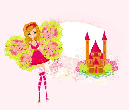 fairy flying above castle  Stock Vector - 17778996