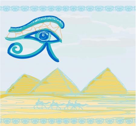 ojo de horus: Egipto - Pirámides de símbolos y símbolos tradicionales de ojos Horus y la silueta de camellos en frente
