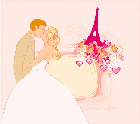 Romantic couple in Paris kissing near the Eiffel Tower Stock Vector - 17779001