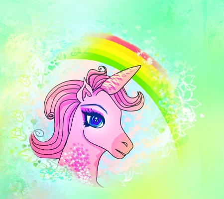 Illustration of beautiful pink Unicorn.  illustration