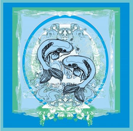 japanese koi vector background  Illustration