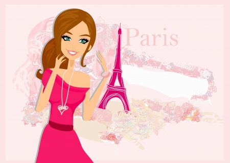beautiful women Shopping in Paris - vector card Stock Vector - 17779012