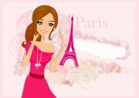 beautiful women Shopping in Paris - vector card Stock Vector - 17779012