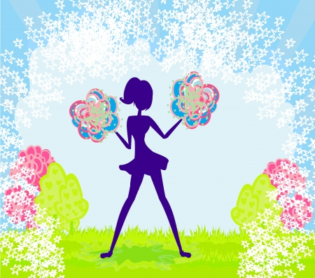 Abstract cheerleader girl poster Stock Vector - 17935380