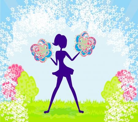Abstract cheerleader girl poster