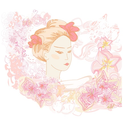 Abstract Beautiful geisha doodle Portrait  Stock Vector - 17935384