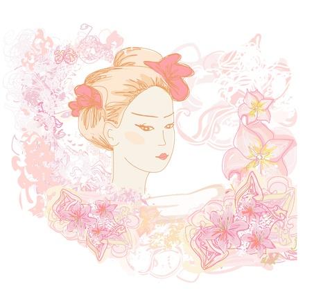 Abstract Beautiful geisha doodle Portrait  Stock Vector - 17935384