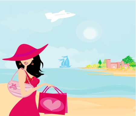 beauty travel girl Vector