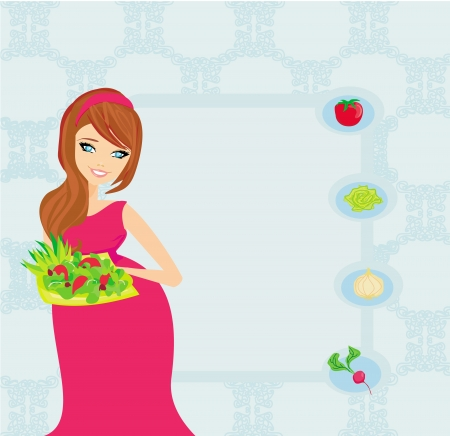pregnant girl with a plate of salad in a hand. Stock Vector - 17935391
