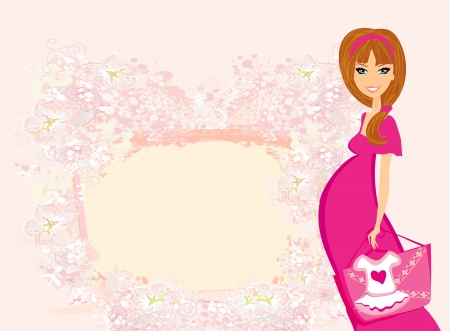 Beautiful pregnant woman on shopping for her new baby  Stock Vector - 17935392