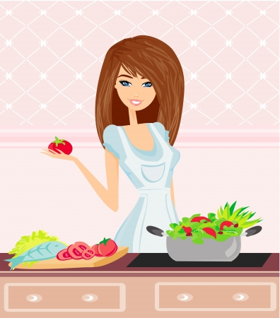 prepare: Beautiful Young Woman cooking fresh Vegetables.Dieting Concept.Vegetarian food