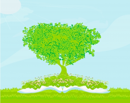 Book with tree on natural background. Stock Vector - 17935404