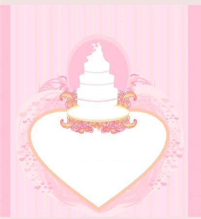 wedding cake card design Stock Vector - 17935401