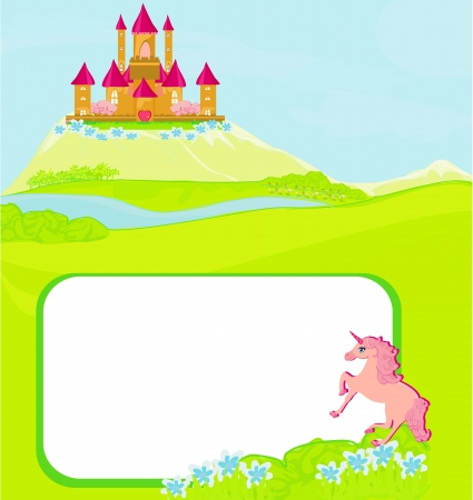 castle door: Portrait frame with fairy tale castle and beautiful country side landscape  Illustration