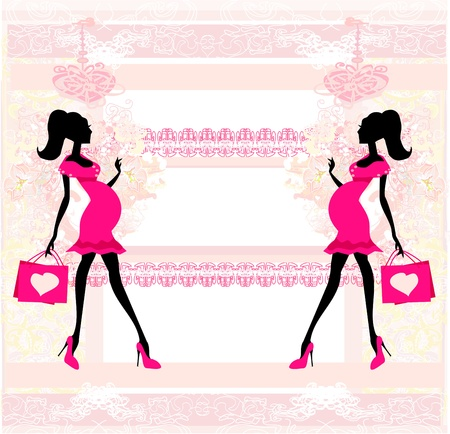 Beautiful pregnant woman on shopping - card Vector