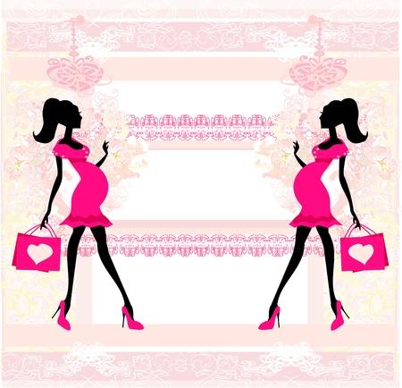 awaiting: Hermosa mujer embarazada en compras - tarjeta Vectores