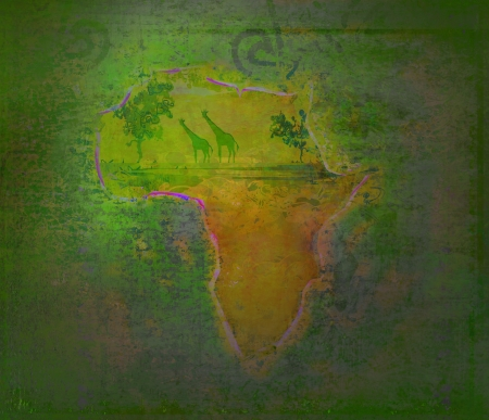 grunge background with African fauna and flora Stock Photo - 17935409