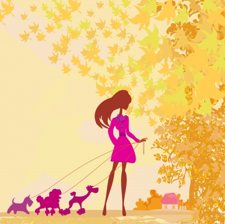 Girl walking with her dog in autumn landscape. Stock Vector - 17935411