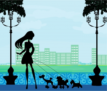 Pretty girl walking the dogs Stock Vector - 17935406