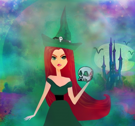 Halloween witch standing with skull  Stock Photo - 17936536