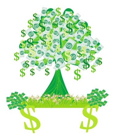 grow money: money growing on trees - abstract card