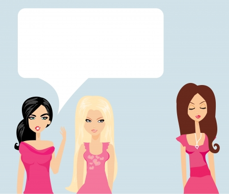 Envious two women gossip about their friend  Stock Vector - 17936529