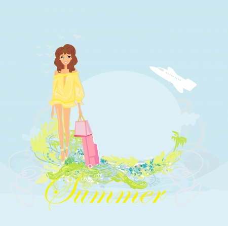 beauty travel girl with baggage Stock Vector - 17936533