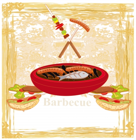 Vintage Barbecue Party Invitation  Stock Vector - 18007146