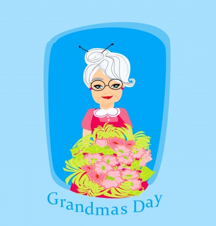 senior woman with a bunch of flowers  Stock Vector - 18007138