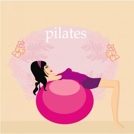 fitness ball: Mujer con la bola de la aptitud Vectores