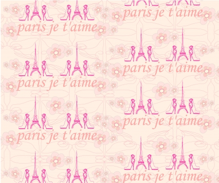 Paris seamless pattern with shoes and flowers  Vector