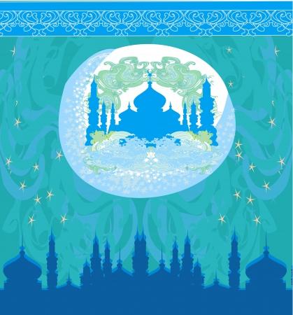 与月亮和清真寺的艺术性的样式背景
