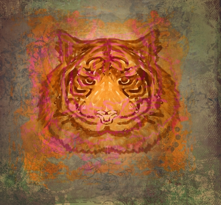 vintage paper background with tiger Stock Photo - 18111170