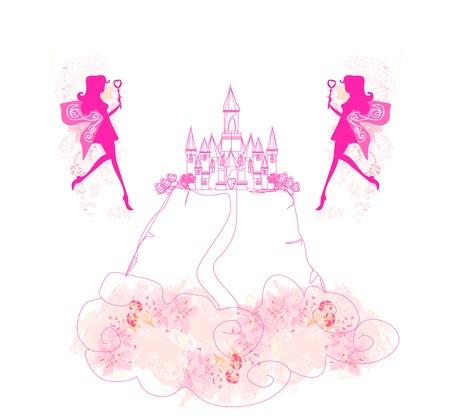 fairy flying above castle  Illustration