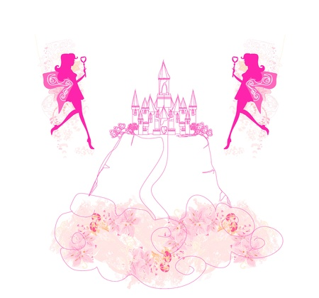 fairy flying above castle Stock Vector - 18111202