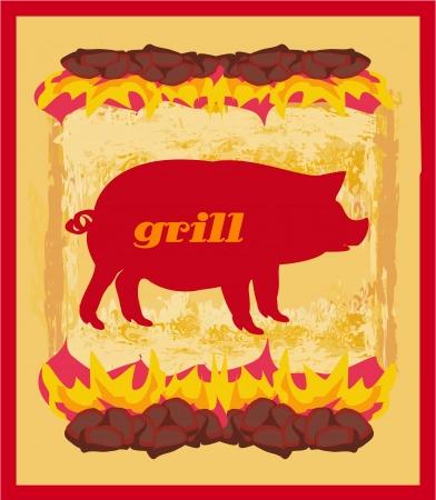 pig tails: Pig Grunge poster - Grill Menu Card Design template.