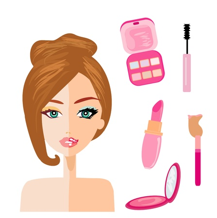 portrait of woman, half natural, half with make up and retouched Stock Vector - 18148669