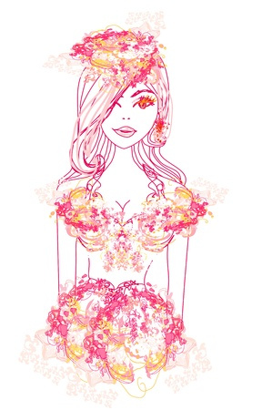 Creative fashion portrait, vector