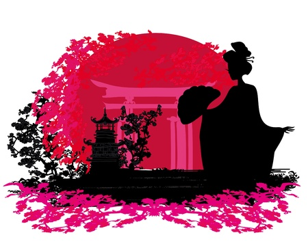 abstract background- Geisha silhouette at sunset  Vector