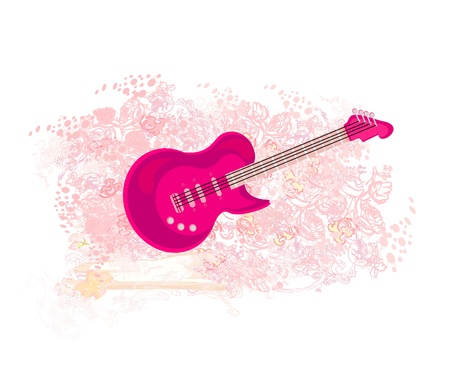 vector image of pink guitar - abstract background Vector