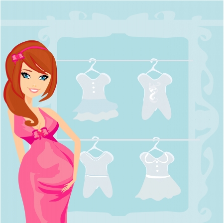 Beautiful pregnant woman on shopping for her new baby  Stock Vector - 18246183