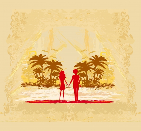 Couple in love looking at the sunset Stock Vector - 18246190