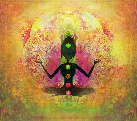 energia espiritual: Yoga lotus pose. Padmasana con puntos de chakra de color. Foto de archivo