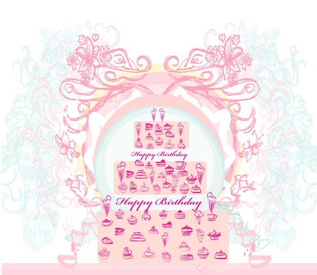 birthday card with cake over vintage background. vector illustration