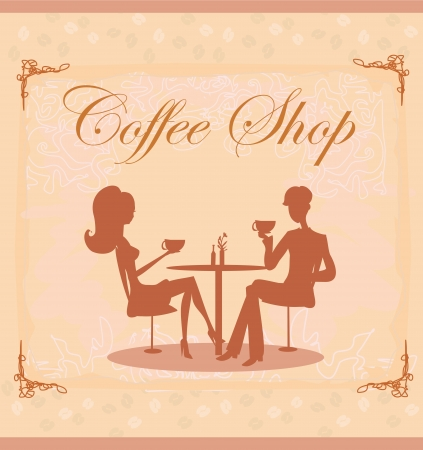 two women talking: Silhouettes of couple sitting in cafe  Illustration