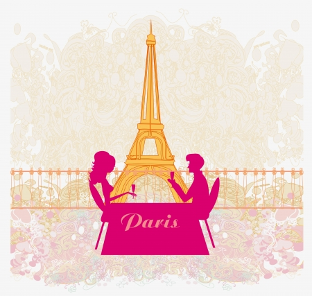 Young couple flirt and drink champagne in Paris Stock Vector - 18317003