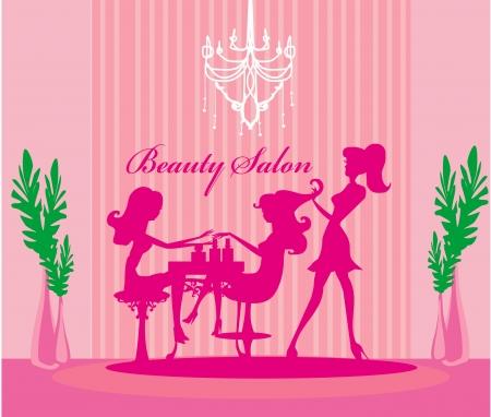 Vector illustration of the beautiful woman in beauty salon  Vector