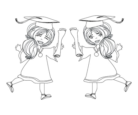 commencement exercises: girl smiling celebrating graduation day holding diploma in her hand  Illustration