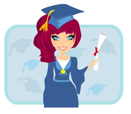 Illustration of a Kid Holding Her Diploma  Vector